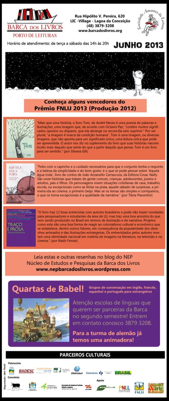 Prêmio FNLIJ 2013 + Parceria para Quartas de Babel
