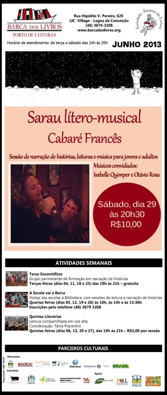 Sarau lítero-musical: Cabaré Francês - part. esp. Isabelle Quimper e Otávio Rosa