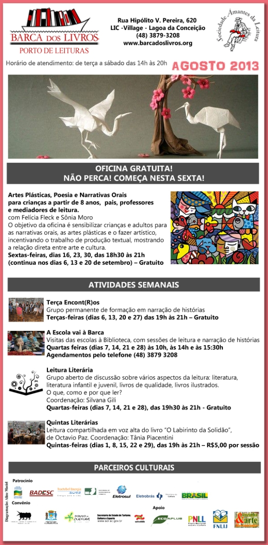 Oficina: Artes Plásticas, Poesia e Narrativas Orais + Atividades Semanais