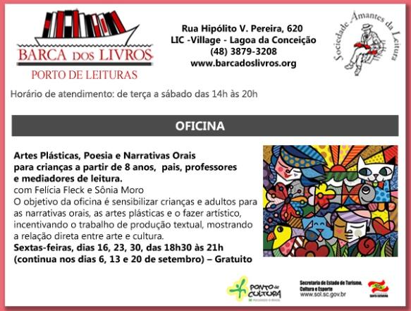 OFICINA GRATUITA! Artes Plásticas, Poesia e Narativas Orais