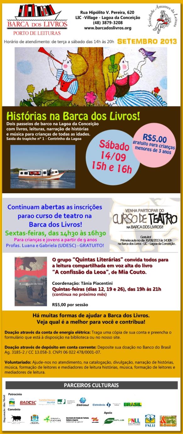 Passeio de Barco com Histórias + Curso de Teatro + Quintas Literárias