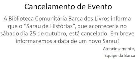 Cancelamento sarau